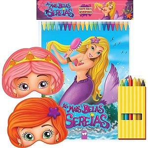 Livro Infantil Colorir Sereias C/giz Super Kit Vale Das Letras