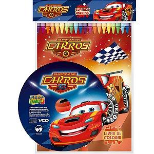 Livro Infantil Colorir Super Kit Animado Carros C/cd Vale Das Letras