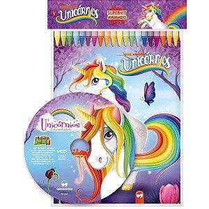 Livro Infantil Colorir Super Kit Animado Unicornio Cd Vale Das Letras