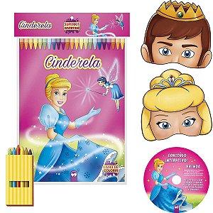 Livro Infantil Colorir Super Kit Cinderela C/giz+Masc Vale Das Letras