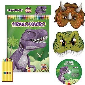 Livro Infantil Colorir Super Kit Dinossauros C/ Giz Vale Das Letras