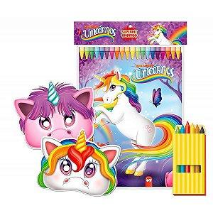 Livro Infantil Colorir Super Kit Unicornio C/ Giz Vale Das Letras