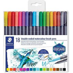 Marcador Artistico Brush Duo Hidrocolor 18Cores Staedtler