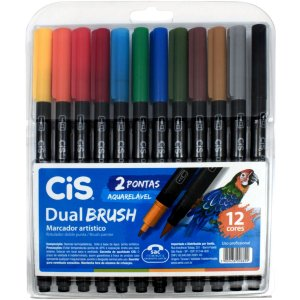 Marcador Artistico Cis Dual Brush 2Pontas 12Cores Sertic