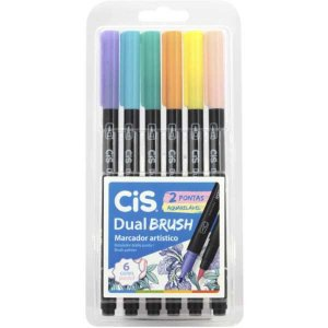 Marcador Artistico Cis Dual Brush 2Pontas 6 Paste Sertic