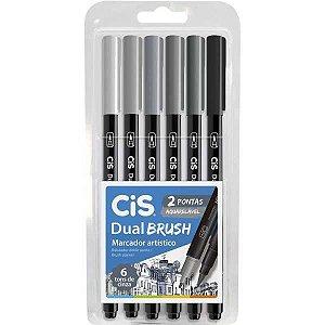 Marcador Artistico Cis Dual Brush Tons Cinza 6Cor Sertic
