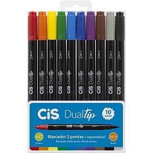 Marcador Artistico Cis Dual Tip Brush 10Cores Sertic