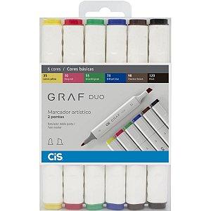 Marcador Artistico Cis Graf Duo 2Pontas 6 Cores Sertic