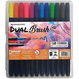 Marcador Artistico Dual Brush 12 Cores Gramp Line