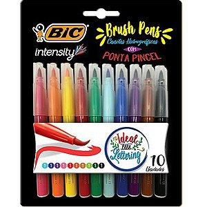 Marcador Artistico Intensity Brush Pens 10 Cores Bic