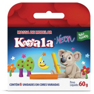 Massa Para Modelar Koala C/ 06 Cores Neon Delta