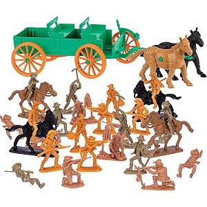 Miniatura Colecionavel Forte Apache Cowboys 37Pcs Gulliver