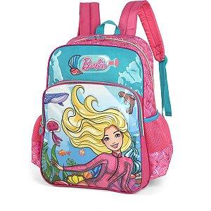 Mochila Escolar Barbie Gd 2Bolsos Azul Luxcel