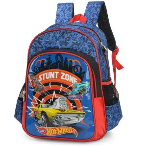 Mochila Escolar Hot Wheels Gd 3Bolsos Azul Luxcel