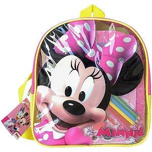 Mochila Escolar Minnie C/livros+Acessorios Dcl