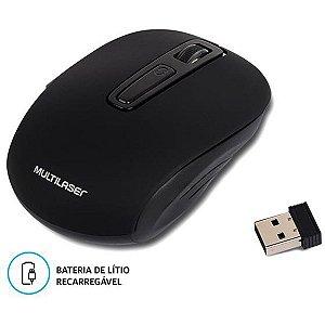 Mouse Optico Sem Fio 1600Dpi 2.4Ghz Preto Recarreg. Multilaser