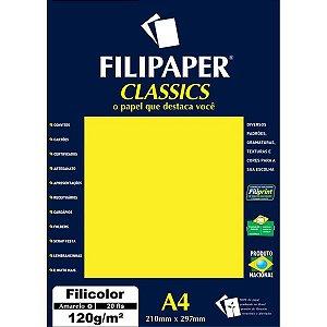 Papel A4 Color Filicolor Amarelo 120G. Filiperson
