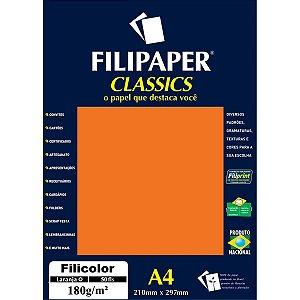 Papel A4 Color Filicolor Laranja 180G. Filiperson