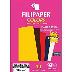 Papel A4 Color Filicolor Plus Amarelo 180G. Filiperson