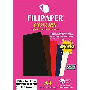 Papel A4 Color Filicolor Plus Preto 180G. Filiperson