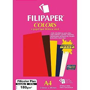 Papel A4 Color Filicolor Plus Vermelho 180G. Filiperson