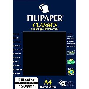 Papel A4 Color Filicolor Preto 120G. Filiperson