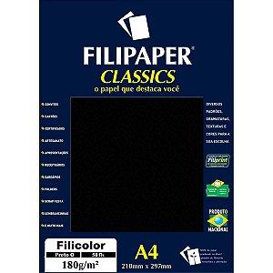 Papel A4 Color Filicolor Preto 180G. Filiperson