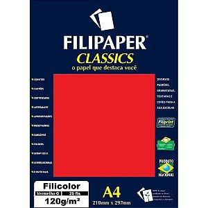 Papel A4 Color Filicolor Vermelho 120G. Filiperson