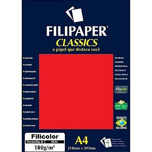 Papel A4 Color Filicolor Vermelho 180G. Filiperson
