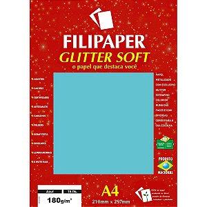 Papel A4 Color Glitter Soft Azul 180G. Filiperson