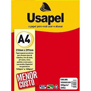 Papel A4 Color Usapel Vermelho 180G. Filiperson