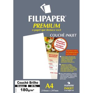 Papel A4 Couche Premium Branco 180G. Filiperson