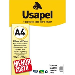 Papel A4 Couche Usapel Matte Branco 180G. Filiperson