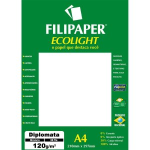 Papel A4 Diplomata Ecolight Branco 120G. Filiperson