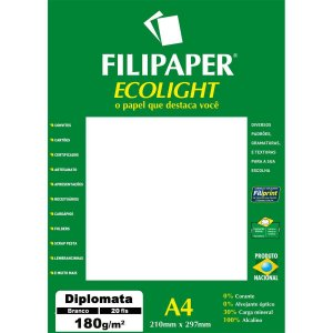 Papel A4 Diplomata Ecolight Branco 180G. Filiperson