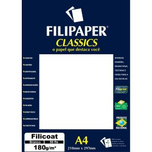Papel A4 Filicoat Classics Branco 180G. Filiperson