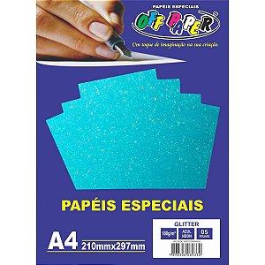 Papel A4 Glitter Azul Neon 180G. Off Paper