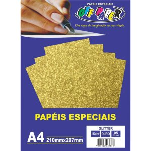 Papel A4 Glitter Ouro 180G. Off Paper