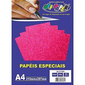 Papel A4 Glitter Pink 180G. Off Paper