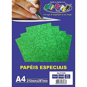 Papel A4 Glitter Verde 180G. Off Paper