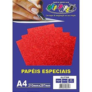 Papel A4 Glitter Vermelho 180G. Off Paper