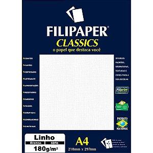 Papel A4 Linho Branco 180G. Filiperson