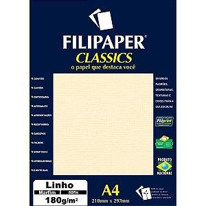 Papel A4 Linho Marfim 180G. Filiperson