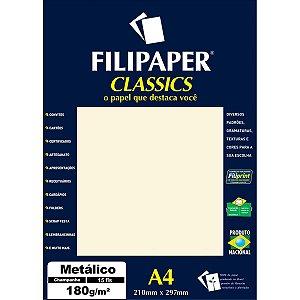 Papel A4 Metalico Champanhe 180Gr. Filiperson