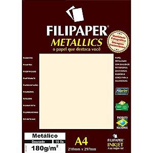 Papel A4 Metalico Dourado 180Gr. Filiperson
