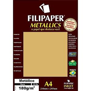 Papel A4 Metalico Ouro 180Gr. Filiperson