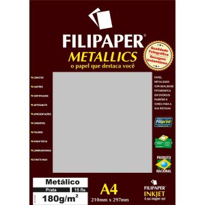 Papel A4 Metalico Prata 180Gr. Filiperson