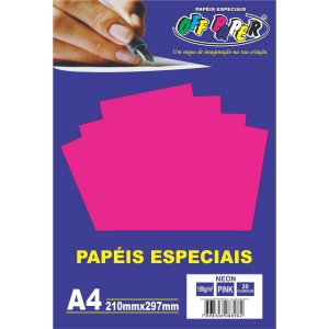 Papel A4 Neon Pink 180G. Off Paper