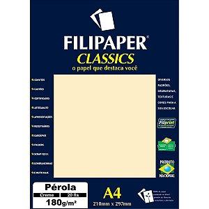 Papel A4 Perolado Creme 180G. Filiperson