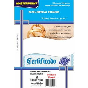 Papel A4 Verge Branco 180G. Masterprint